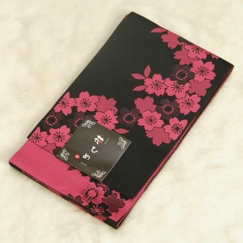 浴衣帯 黒 濃ピンク 柄タイプ 桜柄 袴下帯 単(ひとえ)帯 日本製