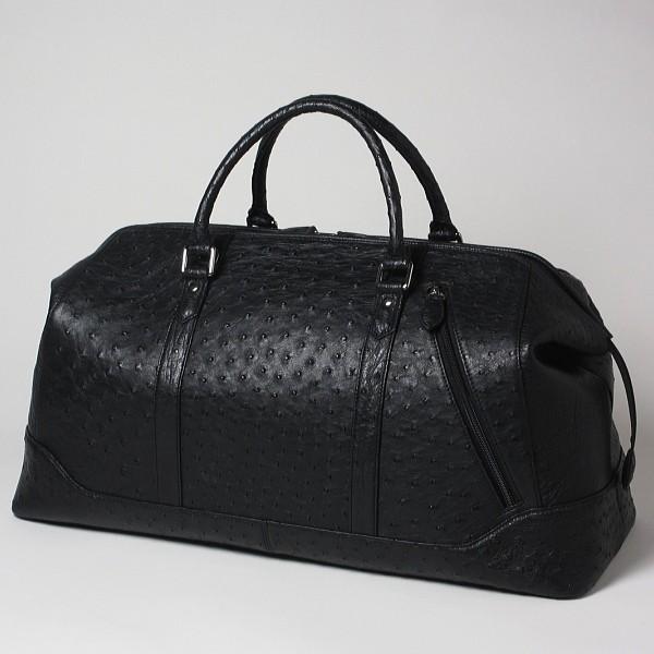 本革 オーストリッチ ボストンバッグ 旅行用バッグ ブラック 機内持ち込み可能 旅行カバン 黒 送料無料