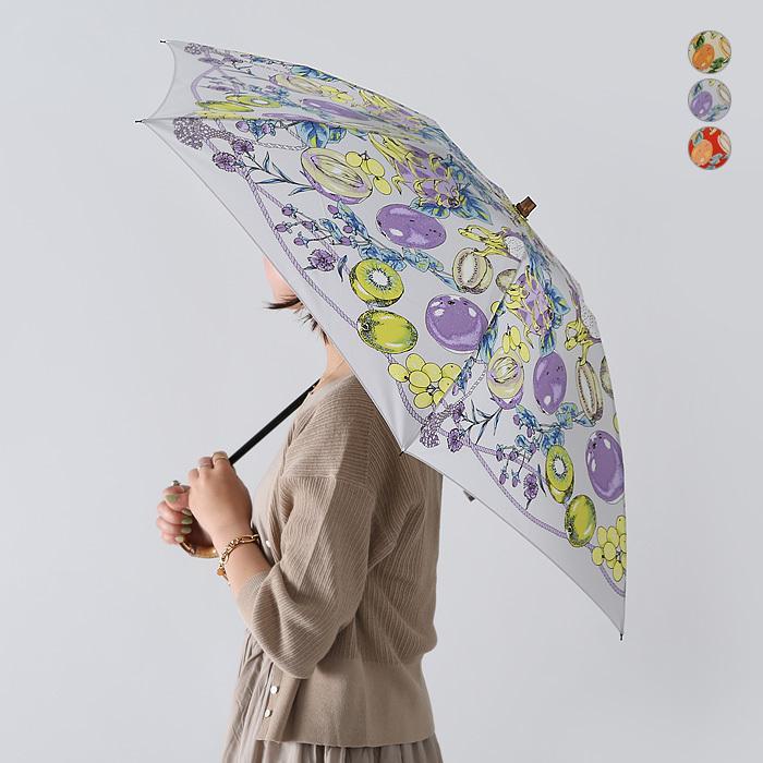 【ネット限定SSセール40%OFF】【21SS】manipuri〔マニプリ〕111672004フラワーフルーツスカーフプリントバンブーハンドル折りたたみ傘(晴雨兼用)【☆】 douceharmonie-ndc