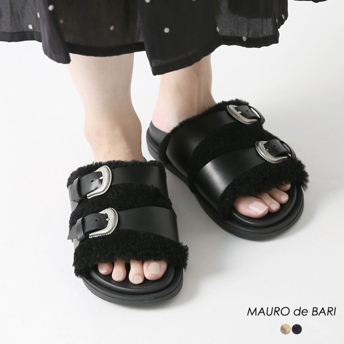 MAURO de BARI〔マウロ デ バーリ〕32019ムートンダブルベルトラバーサンダル【P2】|douceharmonie-ndc