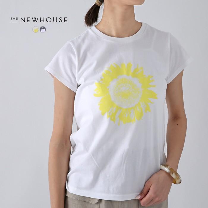 **再入荷THE NEW HOUSE〔ザ ニューハウス〕TNH20100-50SUNFLOWER TEE/コットンフレンチスリーブひまわりプリントTシャツ|douceharmonie-ndc