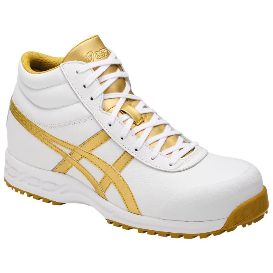 アシックス 安全靴 ウィンジョブ 71S <FFR71S-0194> 24.5cm ホワイト×ゴールド