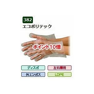 【ポイント10倍】 エブノ ポリエチレン手袋 No.382 L 半透明 (200枚×30袋) エコポリテック 袋入