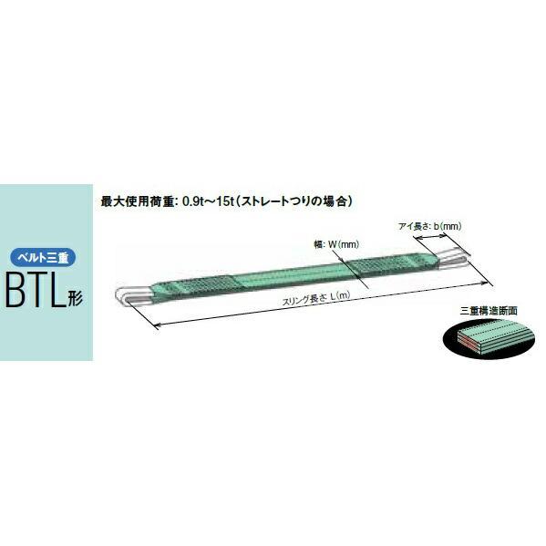 【ポイント5倍】 キトー ベルトスリング(ベルト三重) BTL075 (BTL形 150mm×2m) 《繊維スリング》