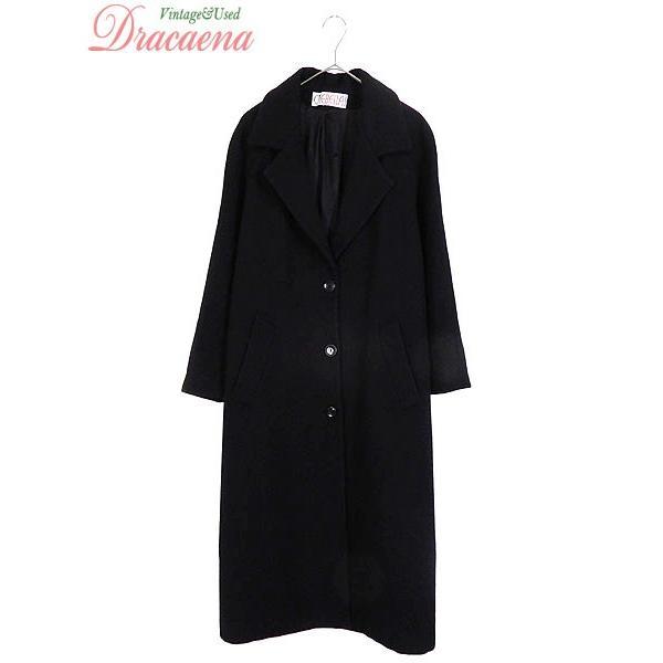 人気ショップ 古着 レディース コート シンプル デザイン ラグラン ウール チェスター ロング コート 羽織り 黒 L位 古着, 保障できる 22df9ab7