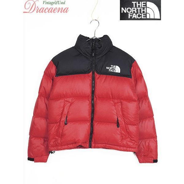 最も完璧な レディース 古着 ジャケット THENORTHFACE ノースフェイス 90s ヌプシ 700 アウトドア 赤 黒 グースダウン XS アウター 古着, アキタシ a8b87ba7