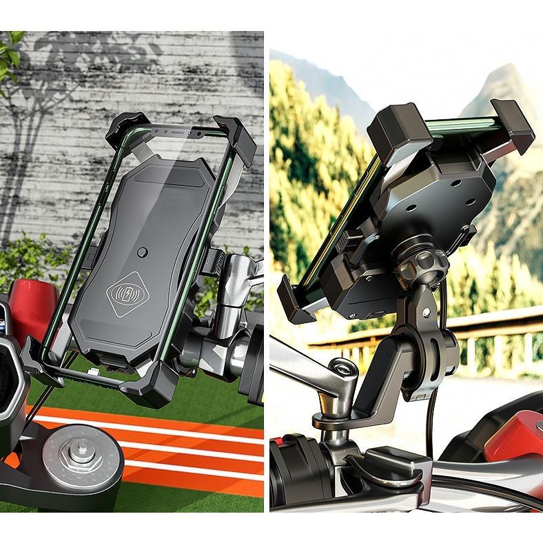 バイク スマホホルダー スマホ充電 最新Qi USBポート 付き スイッチ 22mm 25mmハンドル対応 / ワイヤレス充電 / クランプバー付き / 原付にも!|dream-japan|07