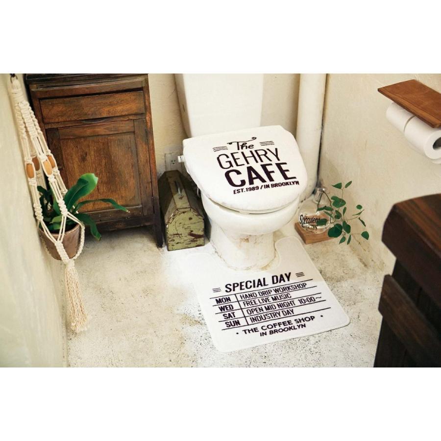 """インターフォルム トイレマット ホワイト""""ザ・コーヒーストリート""""シリーズ - The Coffee Street - FL-1534WH dreamdragon 04"""