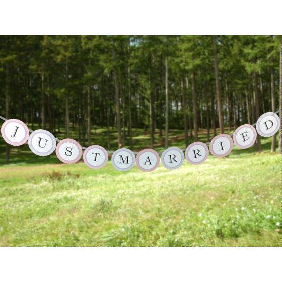 ウエディングランド WEDDINGLAND ガーランド JUST MARRIED サークル 装飾 ウェディング フォトアイテム 結婚式 小物 !超美品再入荷品質至上! 特別セール品 パーティー