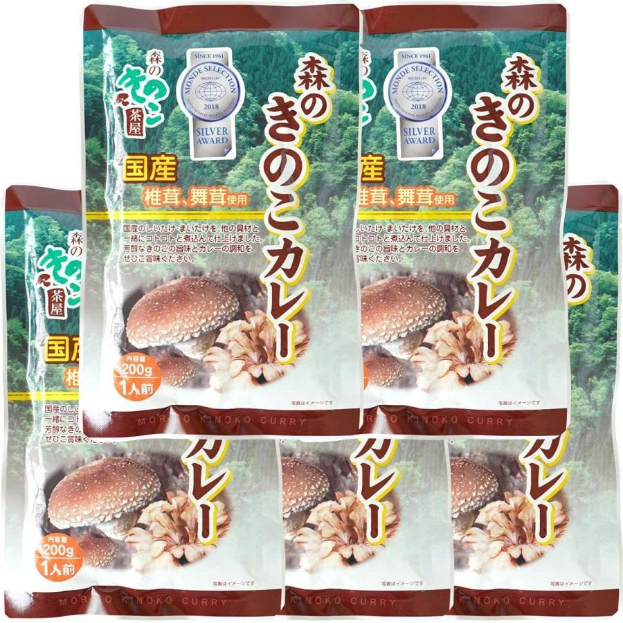 森のきのこカレー 5袋セット 1人前 割引も実施中 200g × 5袋 椎茸 国産カレー 舞茸カレー 大規模セール 国産きのこ 送料無料