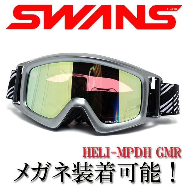 2016年モデル SWANS スワンズ メガネ・ヘルメット対応 スノーゴーグル HELI-MPDH GMR ガンメタリック/パステルイエロー×偏光ピンク
