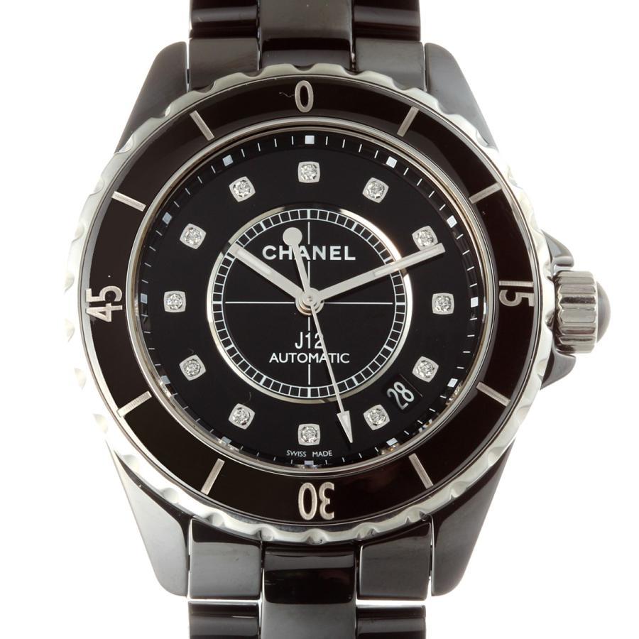 流行に  CHANEL シャネル J12 12P ダイヤモンド Newダイヤモンド 38mm H1626 腕時計 セラミック ブラック 文字盤 メンズ  (飯能本店)/DH49620, オフィスジャパン 4fe47b68