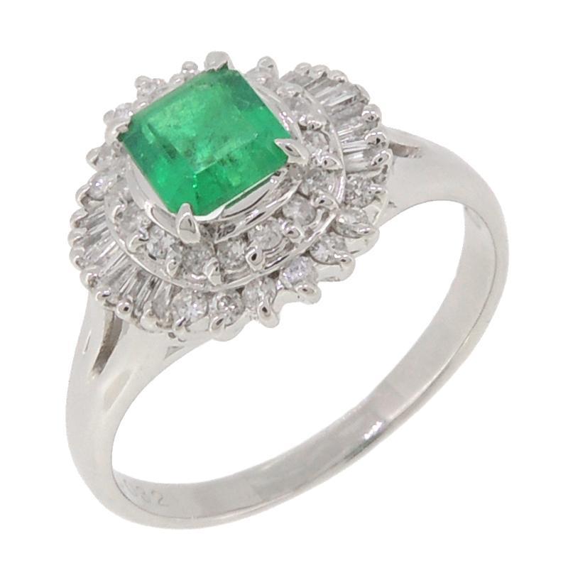本物 ノンブランド Pt900 エメラルド ダイヤモンド #14.5 リング・指輪 Pt900プラチナ Non Brand 14.5号 レディース  (飯能本店)/DH53935, ツシマチョウ 5007f236