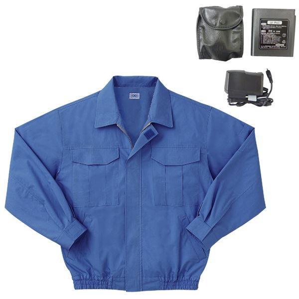 空調服 綿薄手長袖作業着 BM-500U 〔カラーライトブルー: サイズL〕 リチウムバッテリーセット☆彡