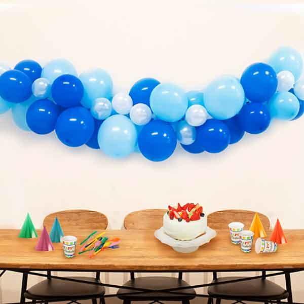 国内在庫 パーティー装飾 手作りバルーンガーランド マリン 待望 青 カラー