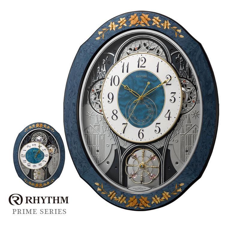 リズム時計 電波時計 からくり時計 掛け時計 プライムウィーブ 4MN527RH04 お取り寄せ