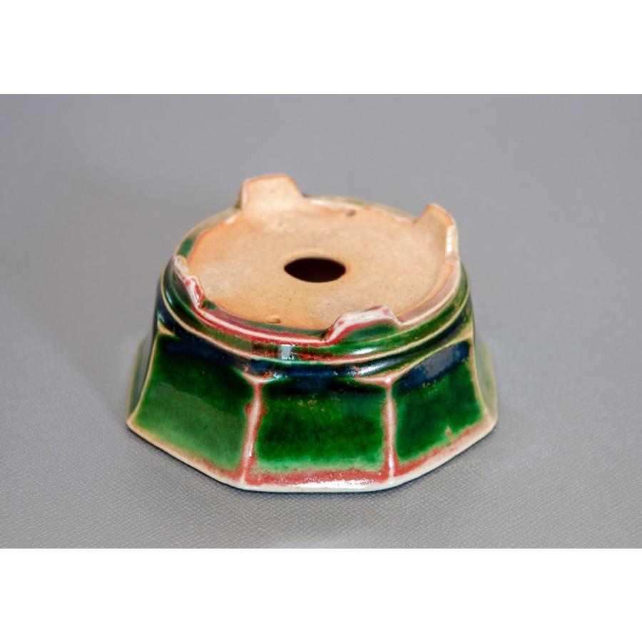 盆栽鉢 織部釉八角盆栽鉢 小品盆栽鉢 小さな盆栽鉢 p0124|e-bonsai|04