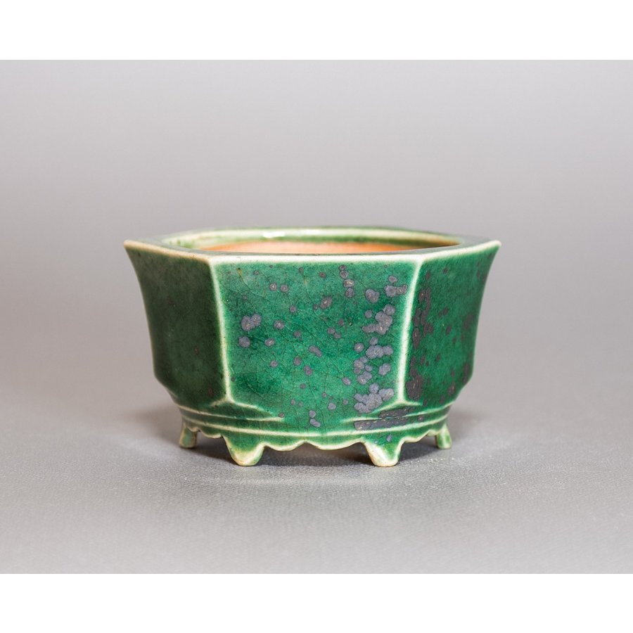 ミニ盆栽鉢 織部釉六角盆栽鉢 國井正子盆栽鉢 小さな鉢 p0318|e-bonsai