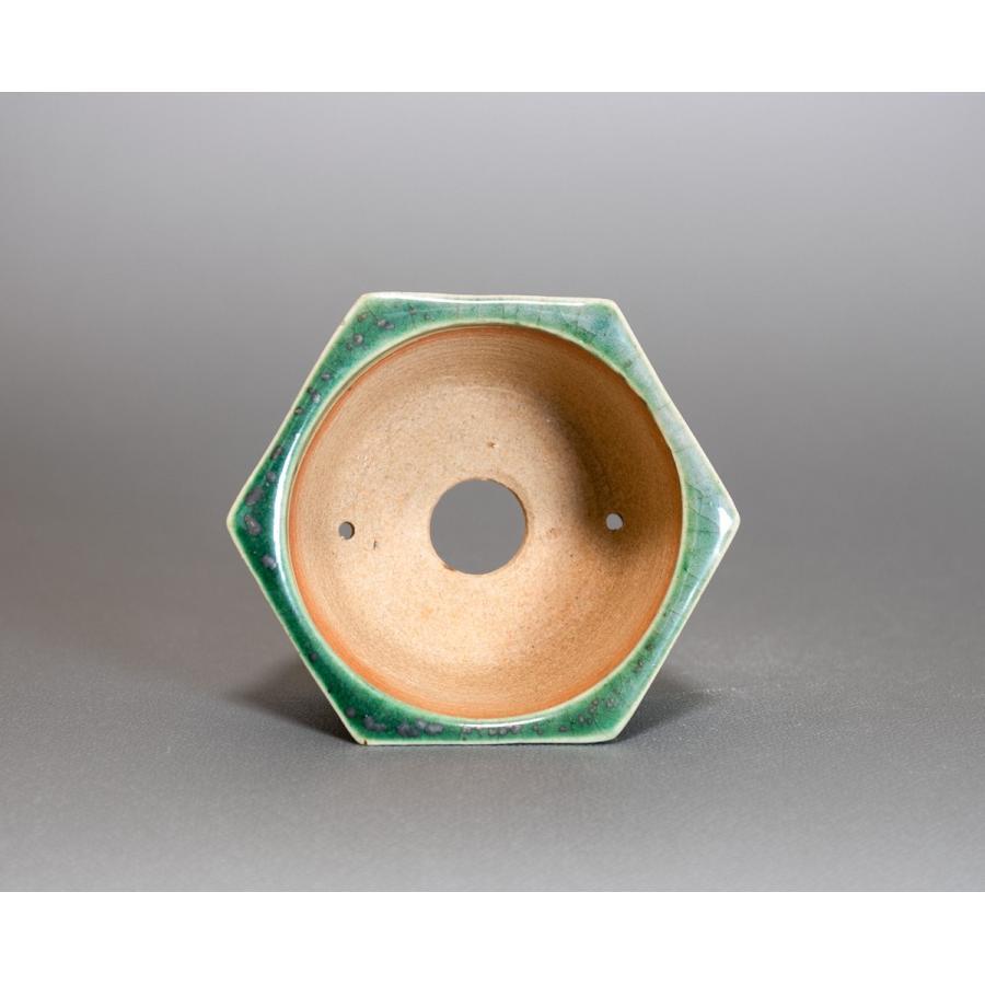ミニ盆栽鉢 織部釉六角盆栽鉢 國井正子盆栽鉢 小さな鉢 p0318|e-bonsai|04