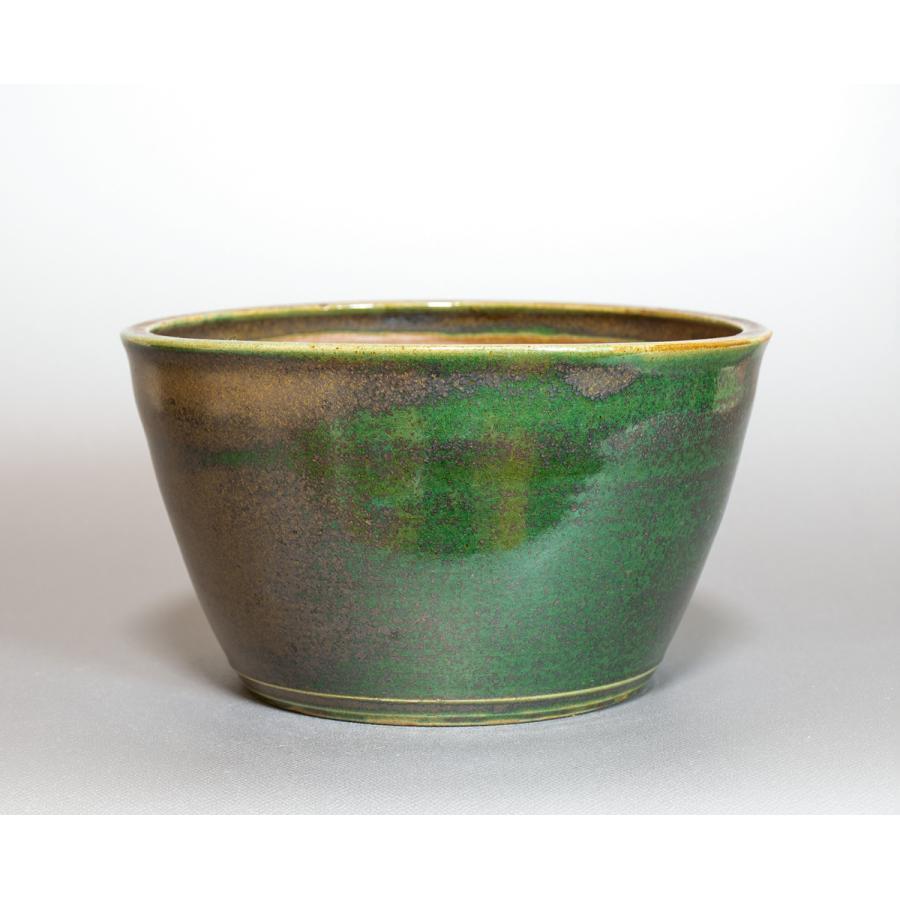 盆栽鉢 織部釉丸盆栽鉢 小品盆栽鉢 國井正子鉢 p0436|e-bonsai