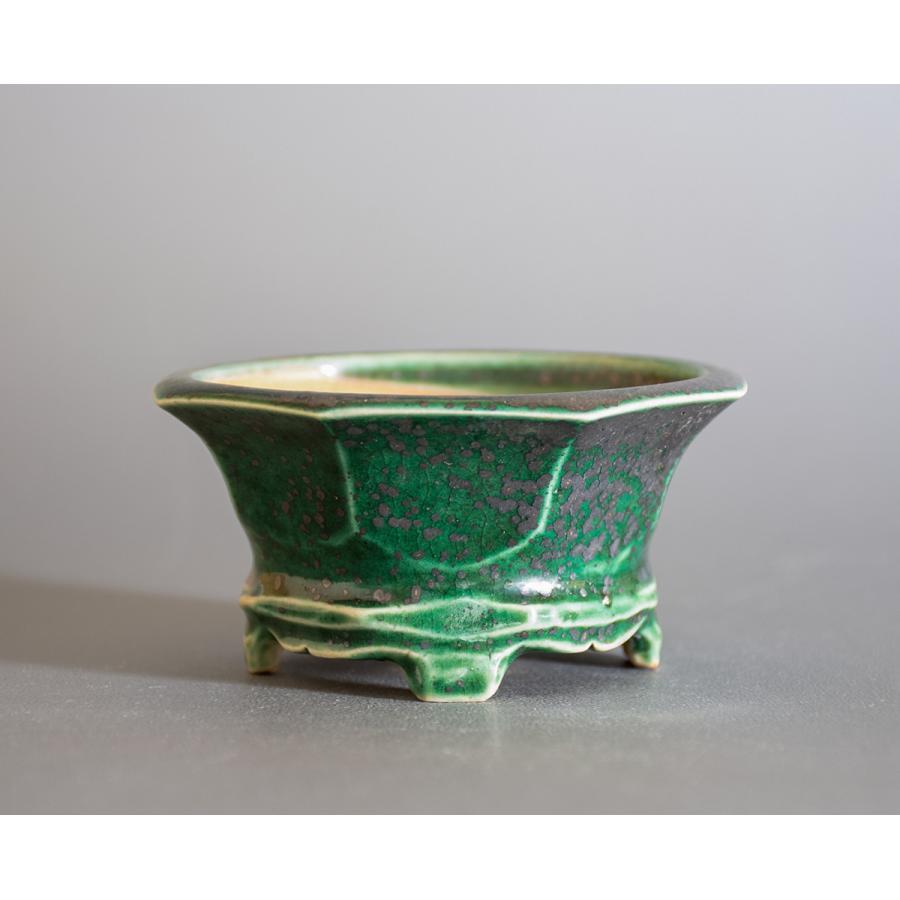 盆栽鉢 織部釉六角盆栽鉢 小品盆栽鉢 小さな盆栽鉢 p0725|e-bonsai|02