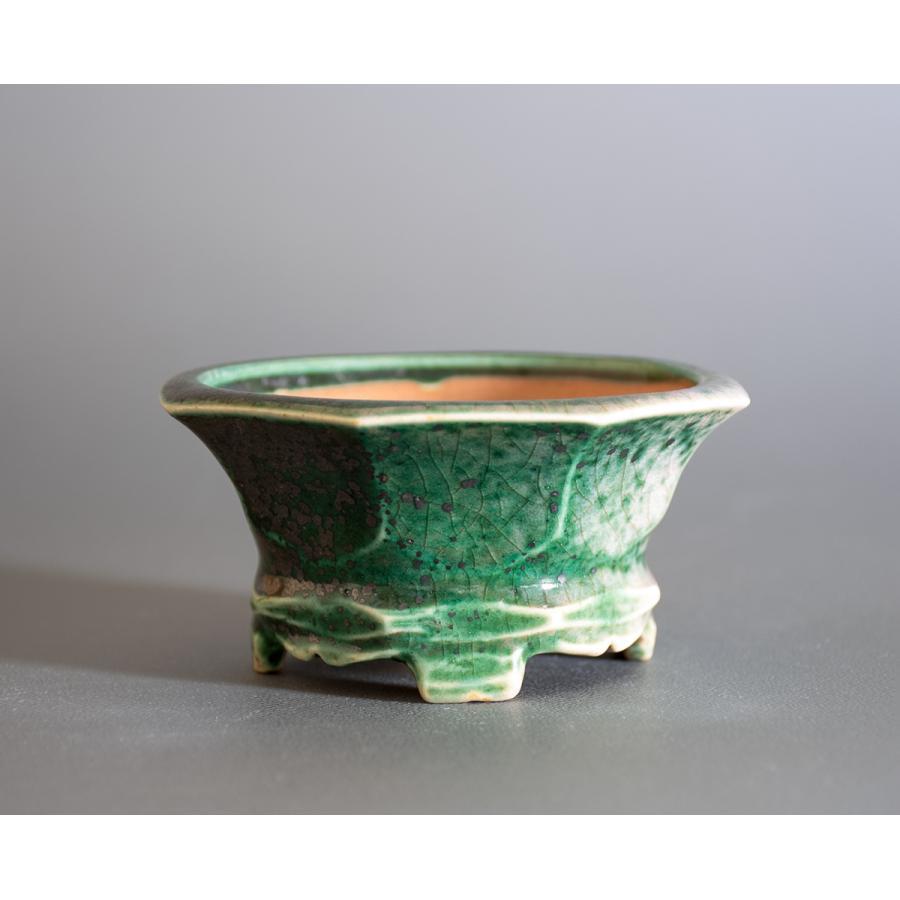 盆栽鉢 織部釉六角盆栽鉢 小品盆栽鉢 小さな盆栽鉢 p0725|e-bonsai|03