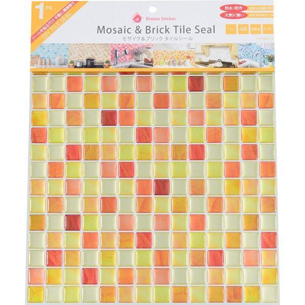 モザイクタイルシール BST-6 ×36個 小箱 クラックオレンジ Crack orange Dream Sticker