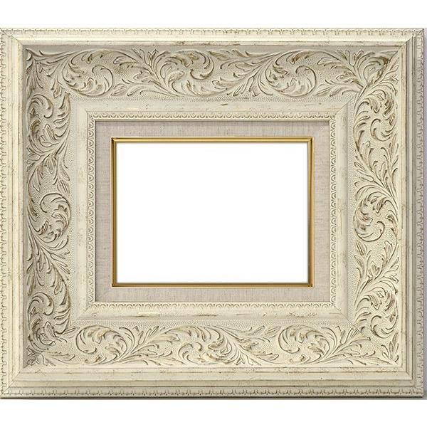 額縁 フレーム 油絵用額縁 8202/ホワイト P30(530×606mm) 前面アクリル仕様 【dras-25】