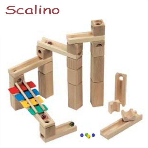 スカリーノ 鉄琴セット 【おまけのビー玉5個付き】 scalino 木のおもちゃ 積木 積み木 つみき 知育 玩具 出産祝 誕生日 クリスマス プレゼント