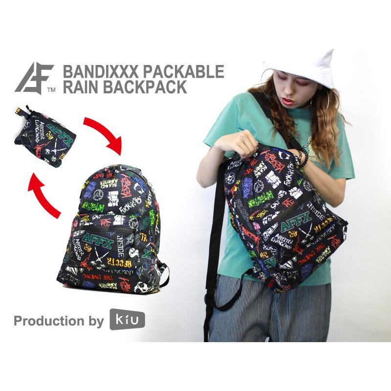 AFFECTER×Kiu PACKABLE RAIN BACKPACK ZIPPER  BANDIXXX BLACK  (撥水防水/収納バッグ付き) (キウ)(レインバックパック) e-issue 04