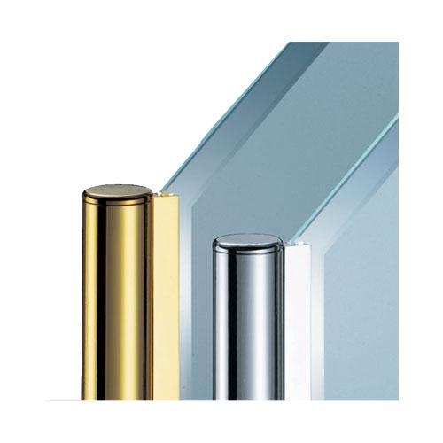 ガラススクリーンポール(チャンネルポール) Kタイプ 一方 38mm x L500mm 半球キャップ 丸座固定 クローム