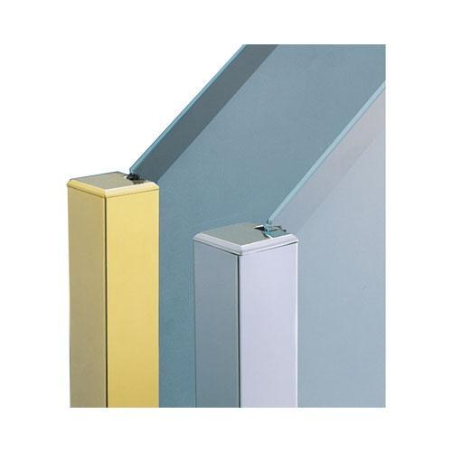 ガラススクリーンポール(ブースバー) Pタイプ 平二方 40mm(角型) x L400mm 四角すい頭 ボルト固定 クローム