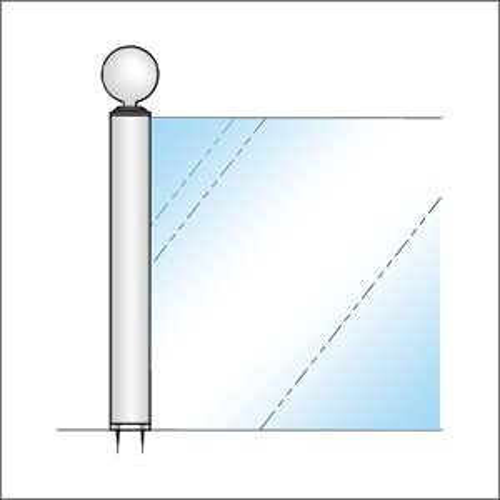 ガラススクリーンポール(ブースバー) Sタイプ 135度二方 32mm x L400mm ボール頭45 インロー固定 クローム