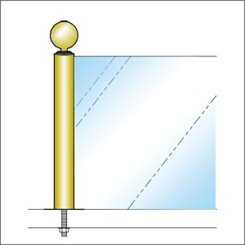 ガラススクリーンポール(ブースバー) Sタイプ 角二方 32mm x L250mm ボール頭35 ボルト固定 ゴールド