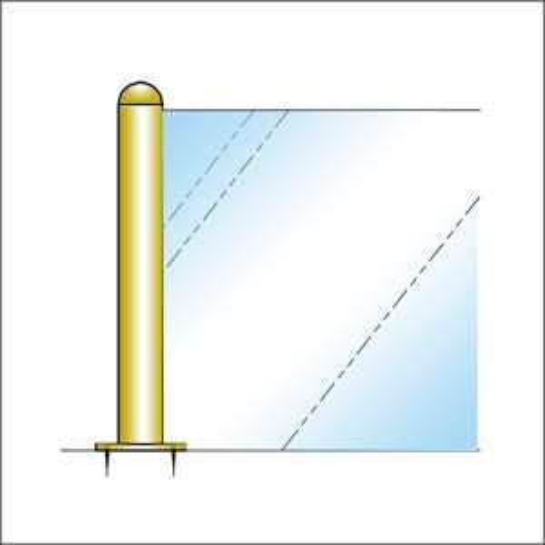 ガラススクリーンポール(ブースバー) Sタイプ 三方 32mm x L200mm 半球頭 丸座固定(65mm)ゴールド