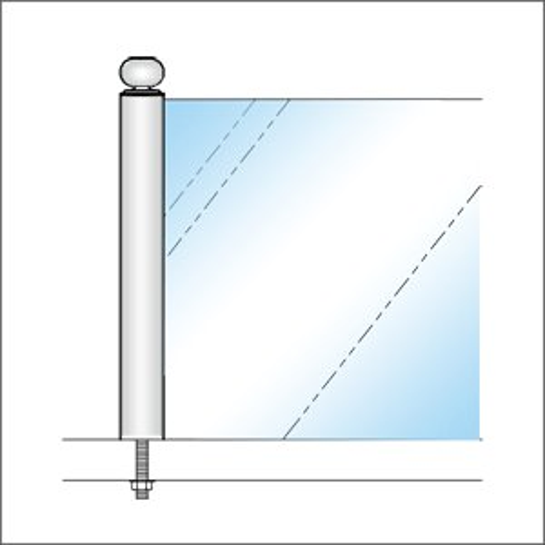 ガラススクリーンポール(ブースバー) Sタイプ 一方 38mm x L500mm ギボシ頭 ボルト固定 クローム