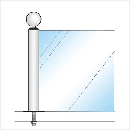 ガラススクリーンポール(ブースバー) Sタイプ 角二方 38mm x L200mm ボール頭 ボルト固定 クローム