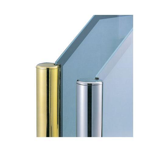 ガラススクリーンポール(ブースバー) Sタイプ 角二方 38mm x L400mm 半球頭 丸座固定 クローム