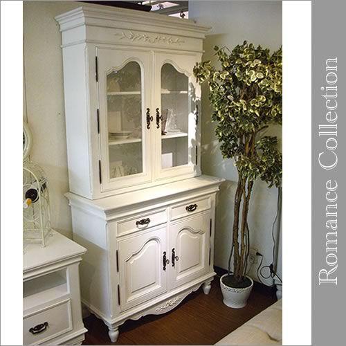 白家具 カップボード 食器棚 ロマンスコレクション 姫系 南欧白家具 おしゃれな白家具