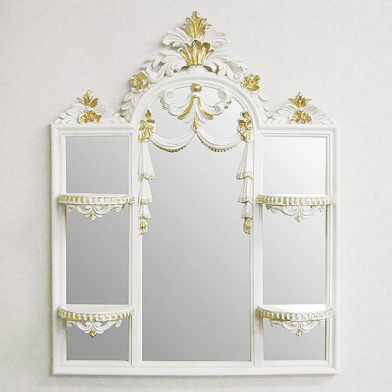送料無料激安祭 イタリア製 飾り棚付 ミラー 壁掛け ホワイト ima-g1-c510 アイザス 捧呈 アイボリー 送料無料