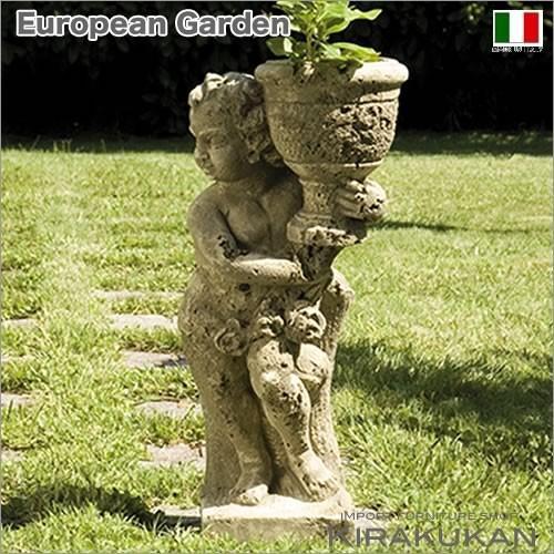 ヨーロピアンガーデン 石像花鉢と子供 コロッサ(左)
