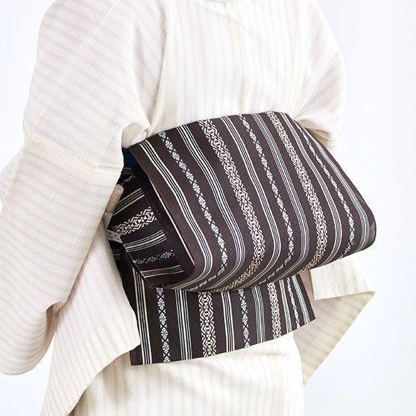 博多帯 単衣 夏 驚きの値段で 紗献上 黒木織物 謹製 五献上柄 訳あり 名古屋帯 紗 もじり織 金印 茶 八寸