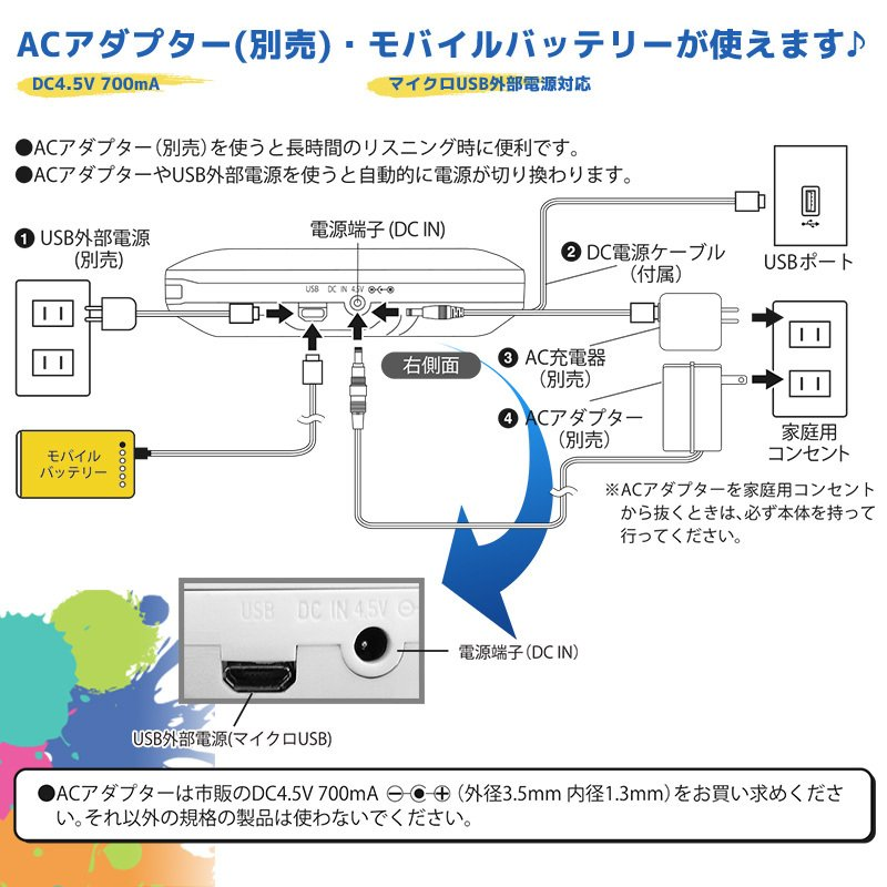 数量限定 AudioComm ポータブルCDプレーヤー ホワイト_CDP-8174G-W 07-8174 オーム電機 e-price 04