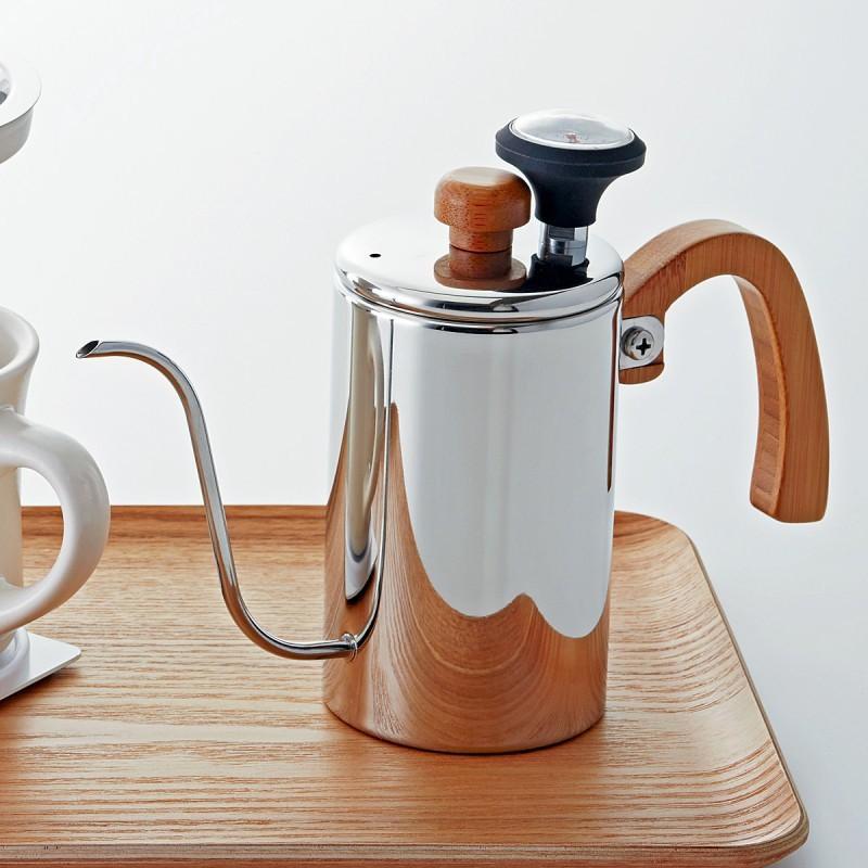 コーヒーポット ドリップケトル ホームメイドカフェ ドリップポット(温度計付)51436 コーヒーグッズ特集 ギフト プレゼント 贈り物|e-zakkaya