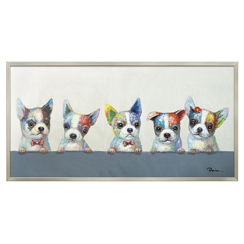 アートパネル 壁掛け インテリア 油絵 額入り オイル ペイント アート アートパネル 動物 犬 カラフル ウェルプ アニマル