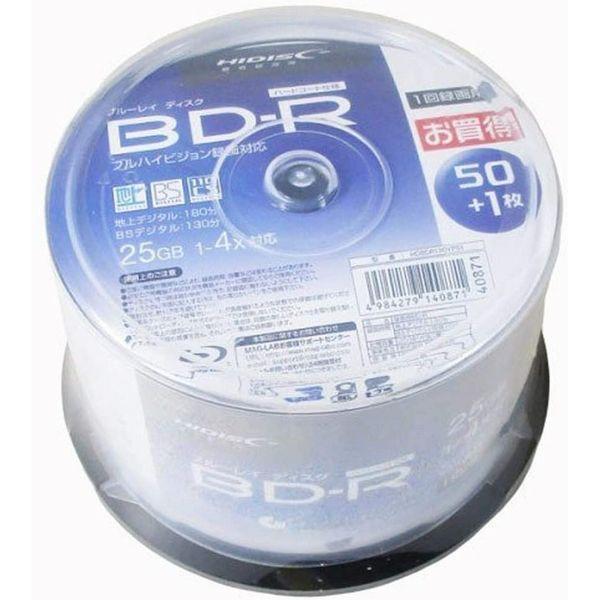 HI-DISC ハイディスク BD-R 25GB 在庫一掃 4倍速 HDBDR130YP51 51枚 市販 送料無料 2504998