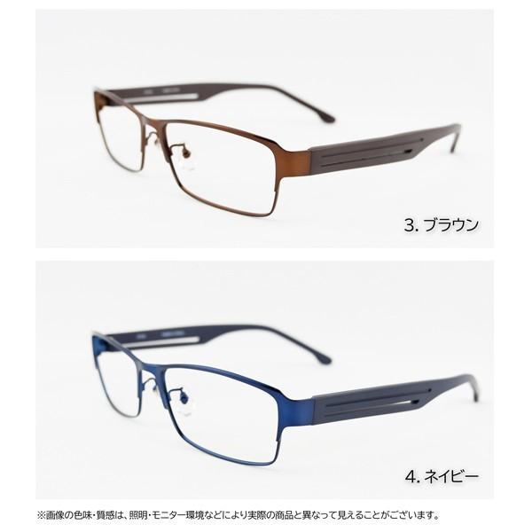 大きいメタルフレーム 60サイズ 度付きメガネ ダテめがね メンズ ブルーライトカット 大きな顔向き|e-zone|08