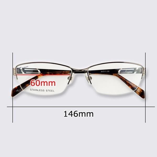 メガネ 大きいサイズ ハーフリム レンズ込み メンズ BIGフレーム 顔大きい 60サイズ 度付き眼鏡 伊達 ダテめがね ブルーライト PC 男性|e-zone|12