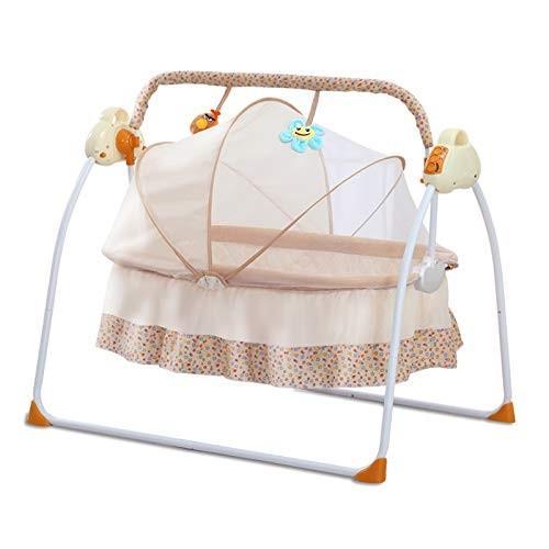 赤ちゃんゆりかご クレードル 電動 電動 ブランコベビーベッド新生児睡眠揺籃 揺れるベビーバスケット(イエロー)