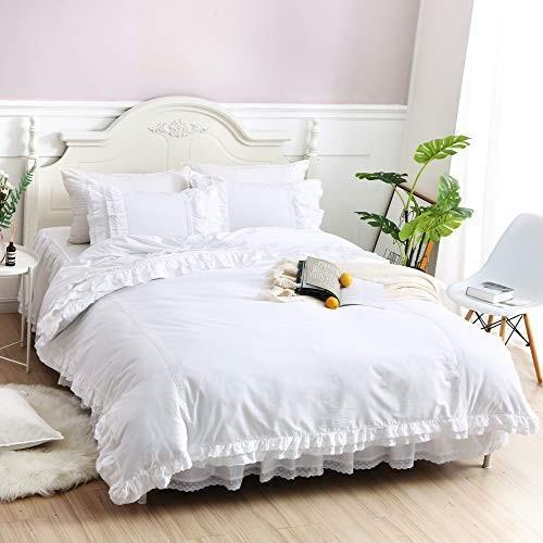 綿100% ホワイト掛ふとんカバー/ベッドスカート/枕カバー シングル